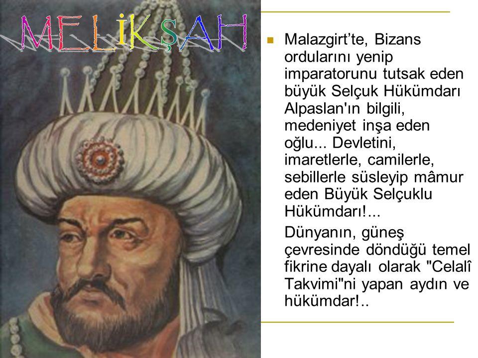 Malazgirt'te, Bizans ordularını yenip imparatorunu tutsak eden büyük Selçuk Hükümdarı Alpaslan'ın bilgili, medeniyet inşa eden oğlu... Devletini, imar
