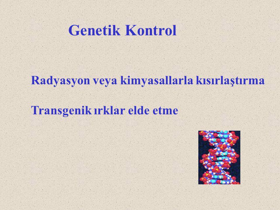 Genetik Kontrol Radyasyon veya kimyasallarla kısırlaştırma Transgenik ırklar elde etme