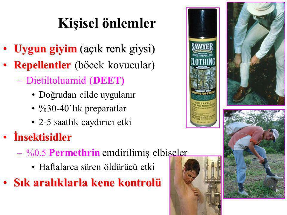 Uygun giyim (açık renk giysi)Uygun giyim (açık renk giysi) RepellentlerRepellentler (böcek kovucular) –Dietiltoluamid (DEET) Doğrudan cilde uygulanır