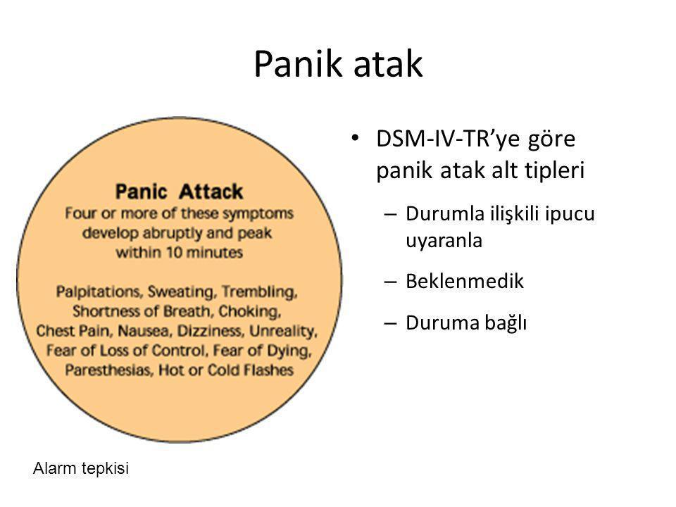 Panik atak DSM-IV-TR'ye göre panik atak alt tipleri – Durumla ilişkili ipucu uyaranla – Beklenmedik – Duruma bağlı Alarm tepkisi