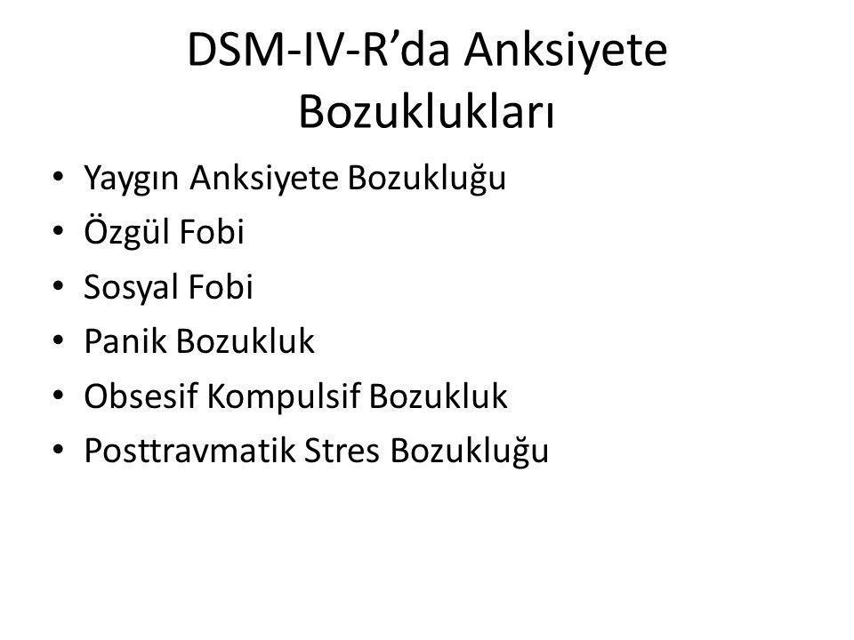 DSM-IV-R'da Anksiyete Bozuklukları Yaygın Anksiyete Bozukluğu Özgül Fobi Sosyal Fobi Panik Bozukluk Obsesif Kompulsif Bozukluk Posttravmatik Stres Bozukluğu