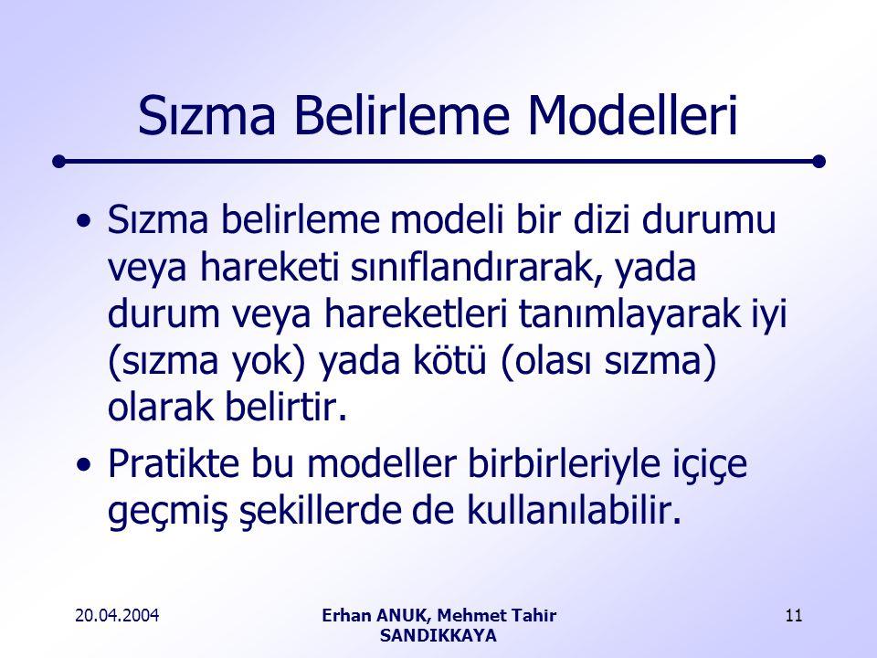 20.04.2004Erhan ANUK, Mehmet Tahir SANDIKKAYA 11 Sızma Belirleme Modelleri Sızma belirleme modeli bir dizi durumu veya hareketi sınıflandırarak, yada durum veya hareketleri tanımlayarak iyi (sızma yok) yada kötü (olası sızma) olarak belirtir.
