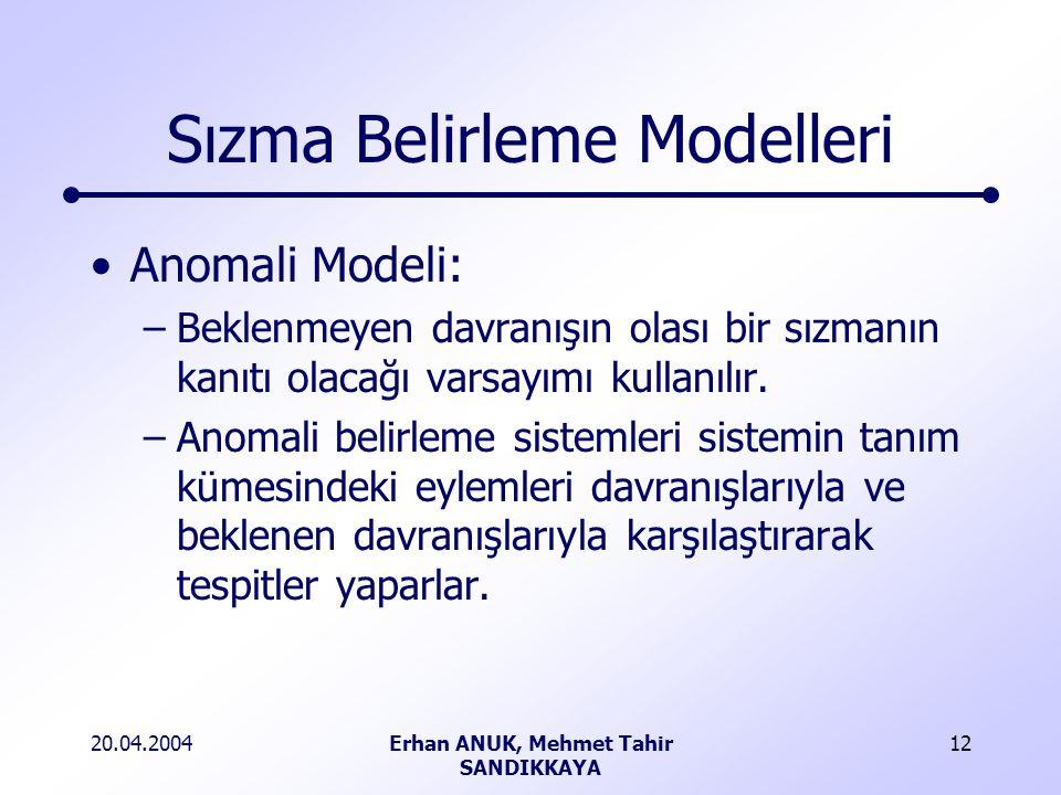 20.04.2004Erhan ANUK, Mehmet Tahir SANDIKKAYA 12 Sızma Belirleme Modelleri Anomali Modeli: –Beklenmeyen davranışın olası bir sızmanın kanıtı olacağı varsayımı kullanılır.