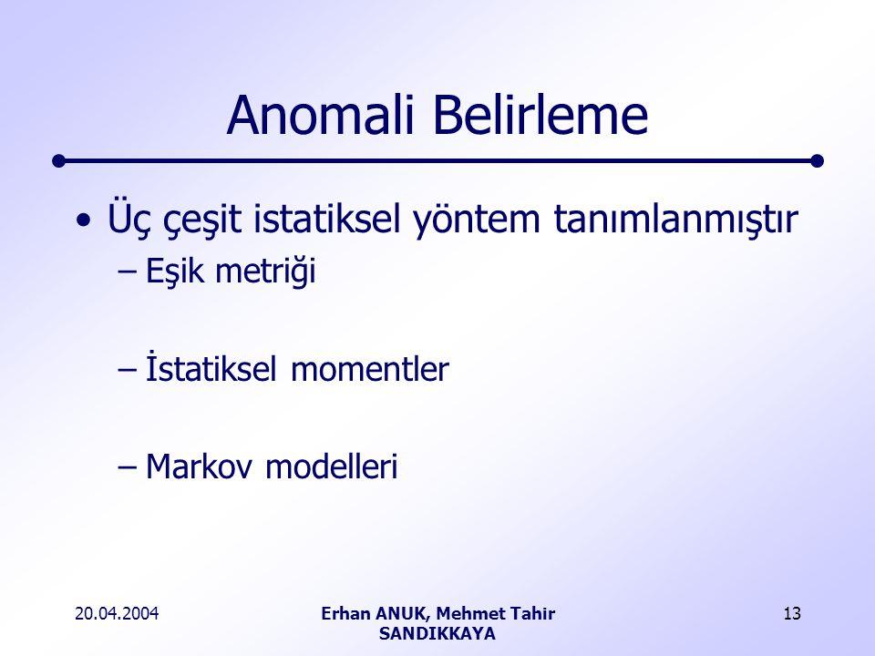 20.04.2004Erhan ANUK, Mehmet Tahir SANDIKKAYA 13 Anomali Belirleme Üç çeşit istatiksel yöntem tanımlanmıştır –Eşik metriği –İstatiksel momentler –Markov modelleri
