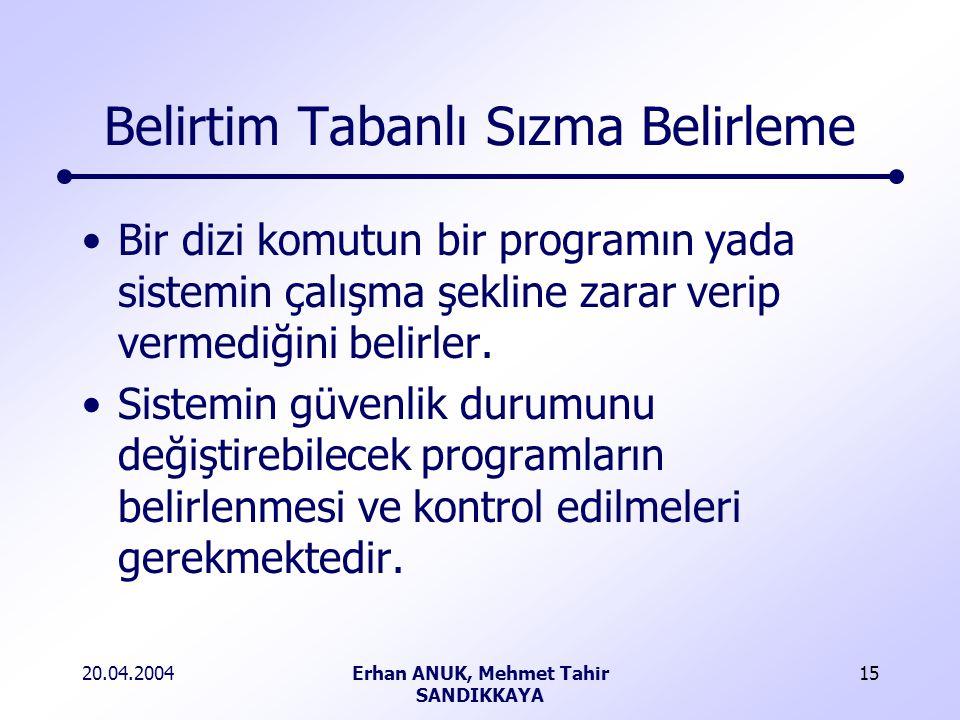 20.04.2004Erhan ANUK, Mehmet Tahir SANDIKKAYA 15 Belirtim Tabanlı Sızma Belirleme Bir dizi komutun bir programın yada sistemin çalışma şekline zarar verip vermediğini belirler.