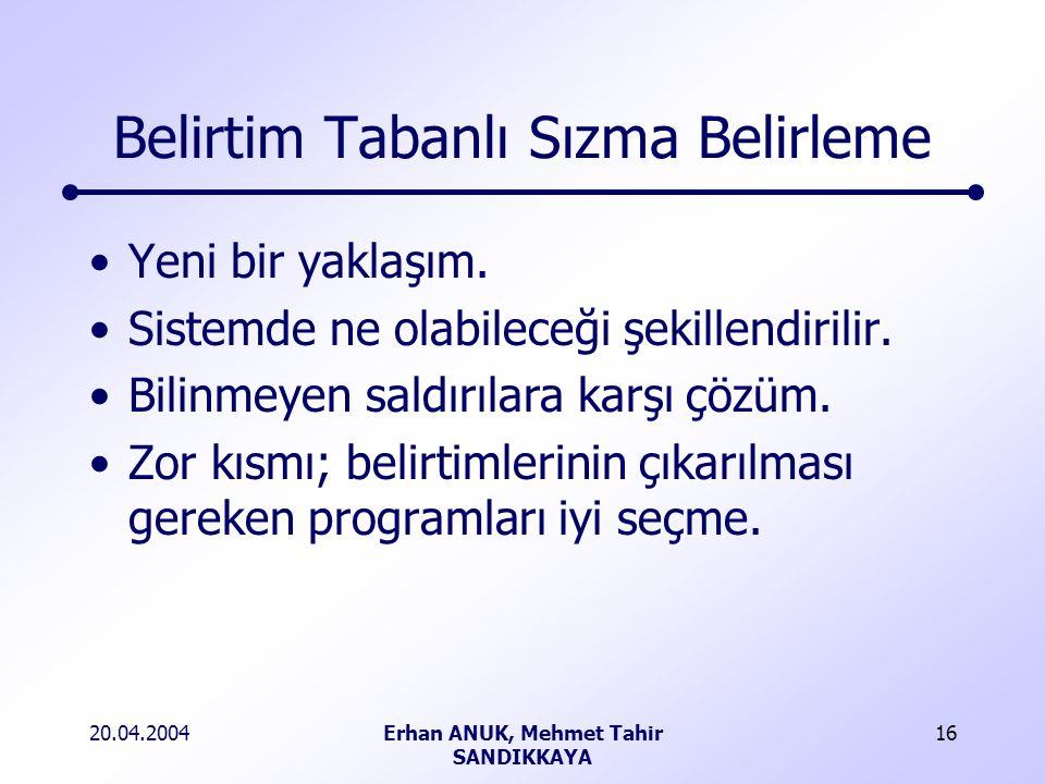 20.04.2004Erhan ANUK, Mehmet Tahir SANDIKKAYA 16 Belirtim Tabanlı Sızma Belirleme Yeni bir yaklaşım.