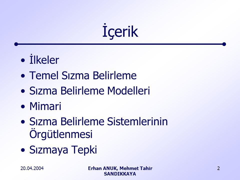 20.04.2004Erhan ANUK, Mehmet Tahir SANDIKKAYA 2 İçerik İlkeler Temel Sızma Belirleme Sızma Belirleme Modelleri Mimari Sızma Belirleme Sistemlerinin Örgütlenmesi Sızmaya Tepki