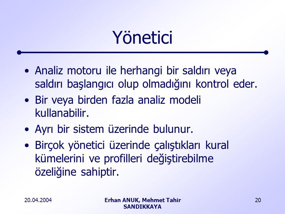 20.04.2004Erhan ANUK, Mehmet Tahir SANDIKKAYA 20 Yönetici Analiz motoru ile herhangi bir saldırı veya saldırı başlangıcı olup olmadığını kontrol eder.