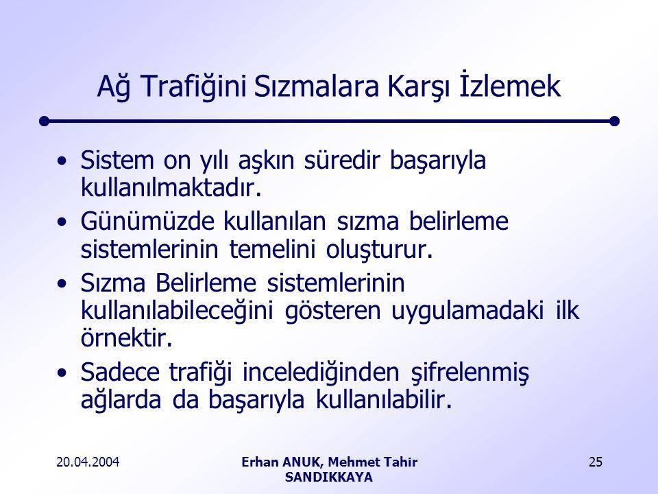 20.04.2004Erhan ANUK, Mehmet Tahir SANDIKKAYA 25 Ağ Trafiğini Sızmalara Karşı İzlemek Sistem on yılı aşkın süredir başarıyla kullanılmaktadır.