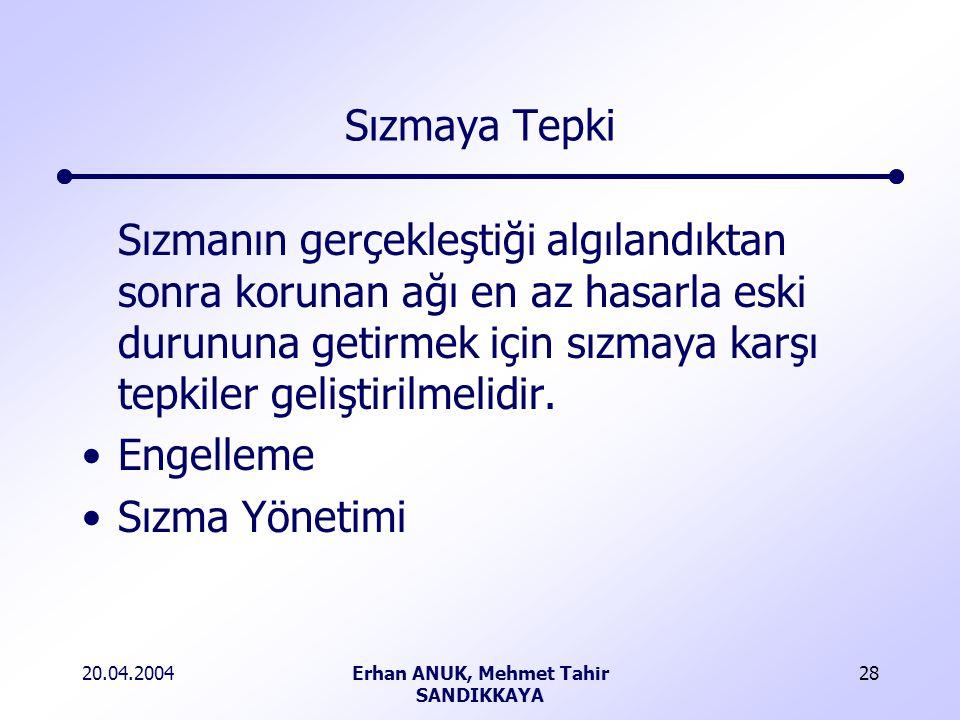 20.04.2004Erhan ANUK, Mehmet Tahir SANDIKKAYA 28 Sızmaya Tepki Sızmanın gerçekleştiği algılandıktan sonra korunan ağı en az hasarla eski durununa getirmek için sızmaya karşı tepkiler geliştirilmelidir.