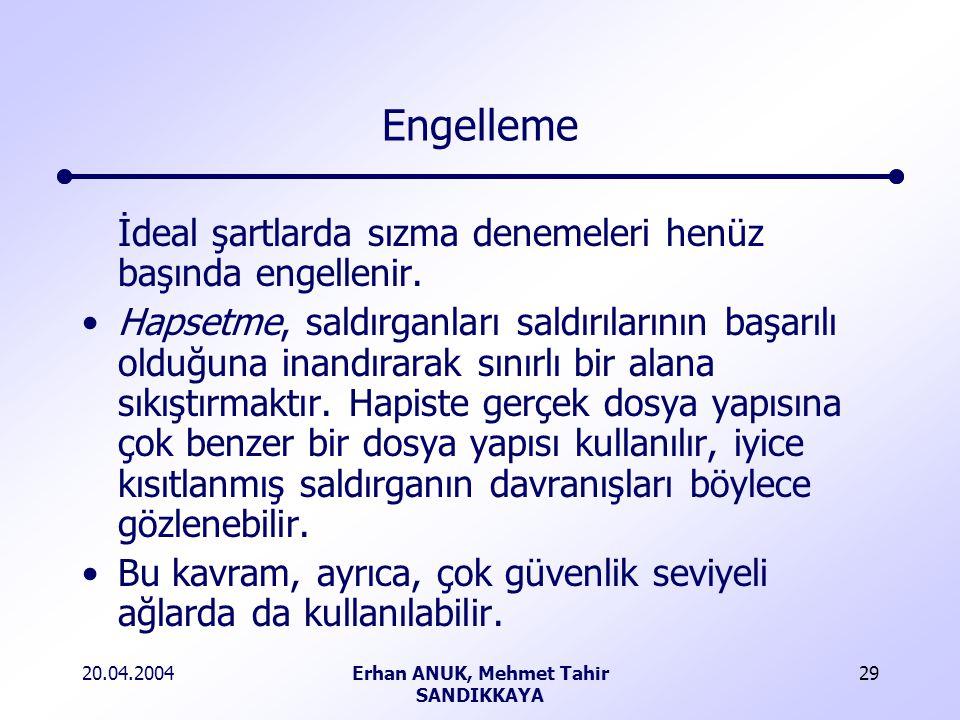 20.04.2004Erhan ANUK, Mehmet Tahir SANDIKKAYA 29 Engelleme İdeal şartlarda sızma denemeleri henüz başında engellenir.