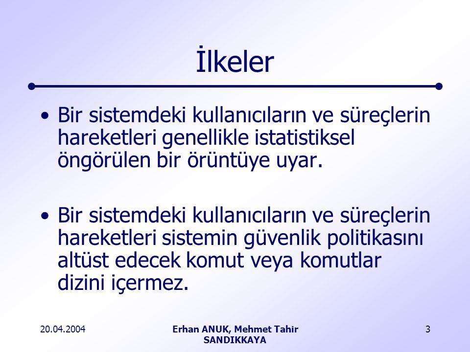 20.04.2004Erhan ANUK, Mehmet Tahir SANDIKKAYA 3 İlkeler Bir sistemdeki kullanıcıların ve süreçlerin hareketleri genellikle istatistiksel öngörülen bir örüntüye uyar.