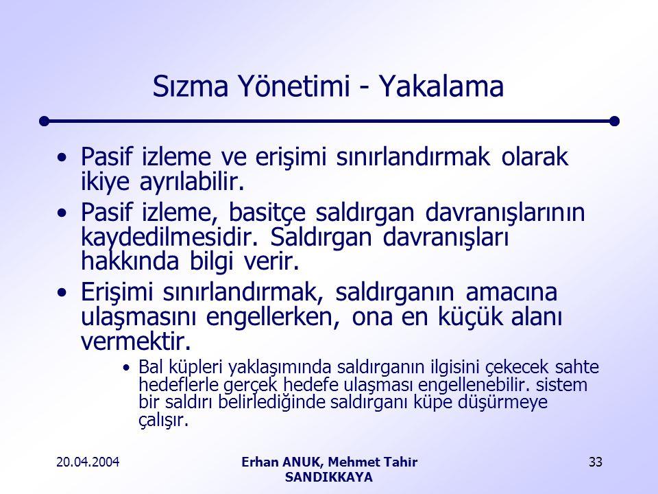 20.04.2004Erhan ANUK, Mehmet Tahir SANDIKKAYA 33 Sızma Yönetimi - Yakalama Pasif izleme ve erişimi sınırlandırmak olarak ikiye ayrılabilir.