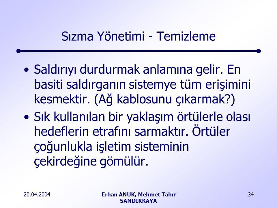 20.04.2004Erhan ANUK, Mehmet Tahir SANDIKKAYA 34 Sızma Yönetimi - Temizleme Saldırıyı durdurmak anlamına gelir.