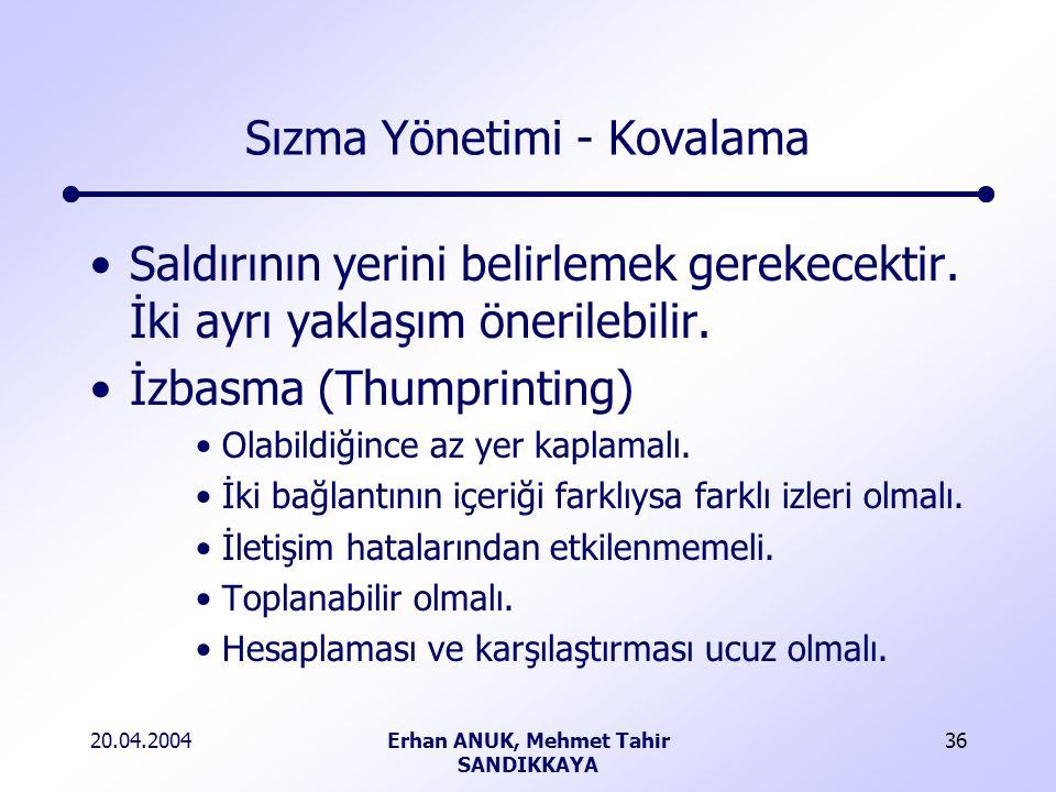 20.04.2004Erhan ANUK, Mehmet Tahir SANDIKKAYA 36 Sızma Yönetimi - Kovalama Saldırının yerini belirlemek gerekecektir.