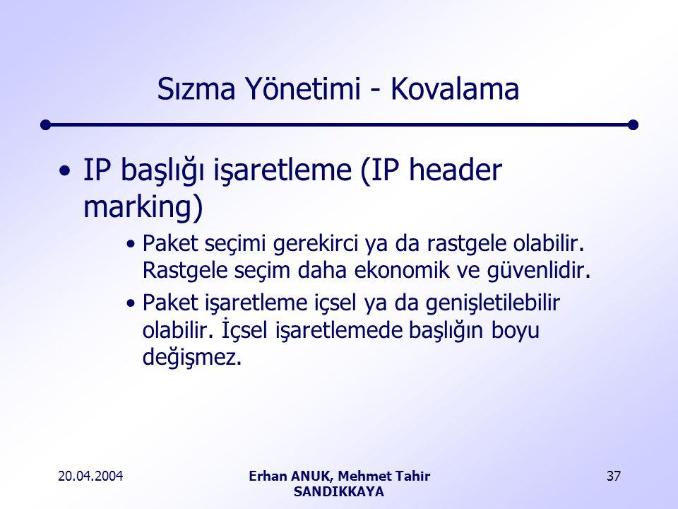 20.04.2004Erhan ANUK, Mehmet Tahir SANDIKKAYA 37 Sızma Yönetimi - Kovalama IP başlığı işaretleme (IP header marking) Paket seçimi gerekirci ya da rastgele olabilir.