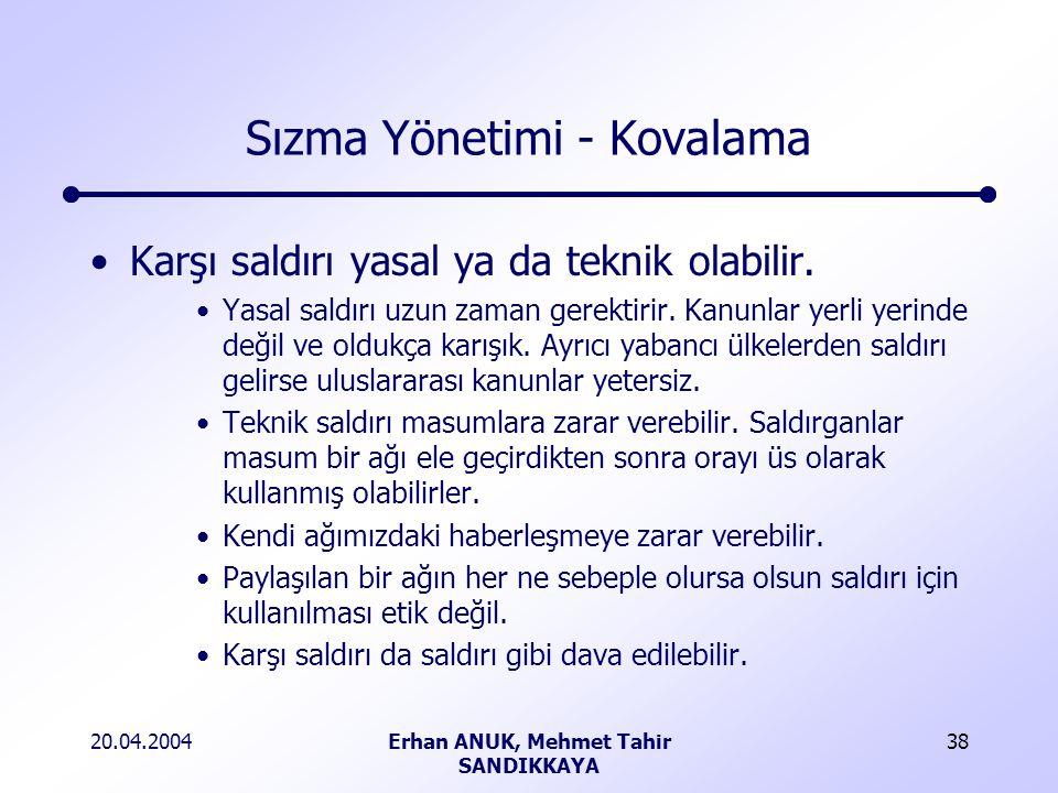 20.04.2004Erhan ANUK, Mehmet Tahir SANDIKKAYA 38 Sızma Yönetimi - Kovalama Karşı saldırı yasal ya da teknik olabilir.