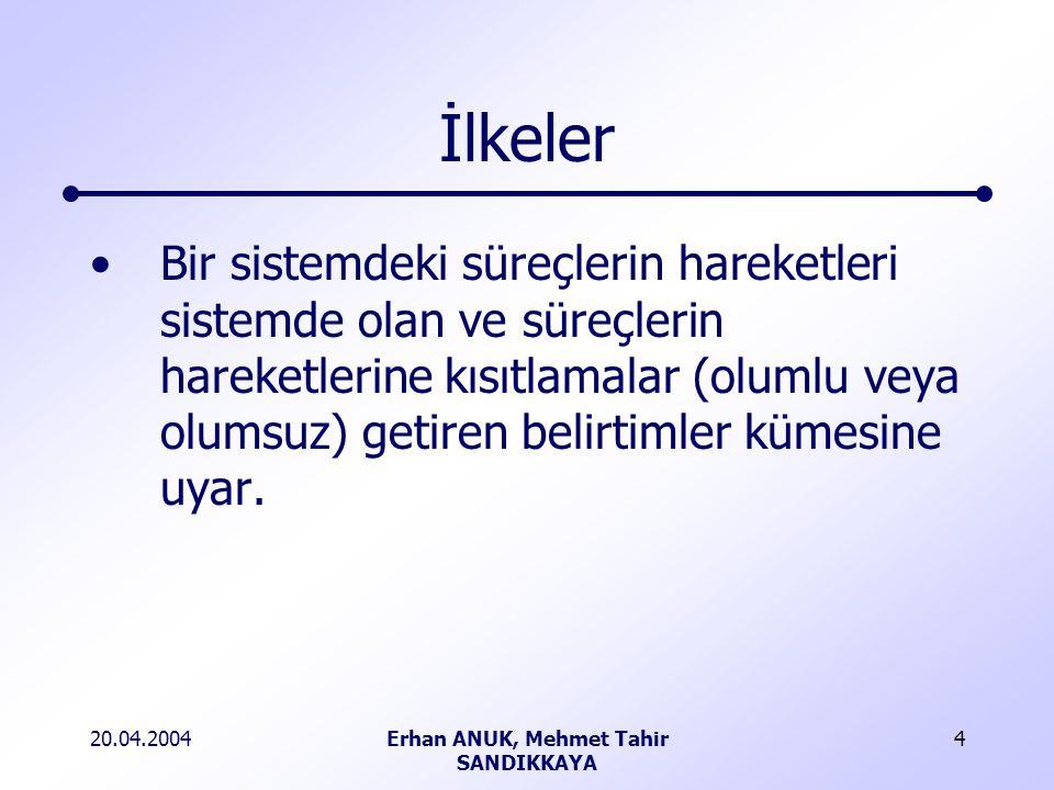 20.04.2004Erhan ANUK, Mehmet Tahir SANDIKKAYA 4 İlkeler Bir sistemdeki süreçlerin hareketleri sistemde olan ve süreçlerin hareketlerine kısıtlamalar (olumlu veya olumsuz) getiren belirtimler kümesine uyar.