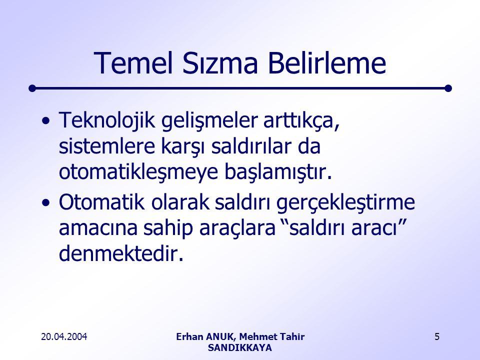 20.04.2004Erhan ANUK, Mehmet Tahir SANDIKKAYA 5 Temel Sızma Belirleme Teknolojik gelişmeler arttıkça, sistemlere karşı saldırılar da otomatikleşmeye başlamıştır.