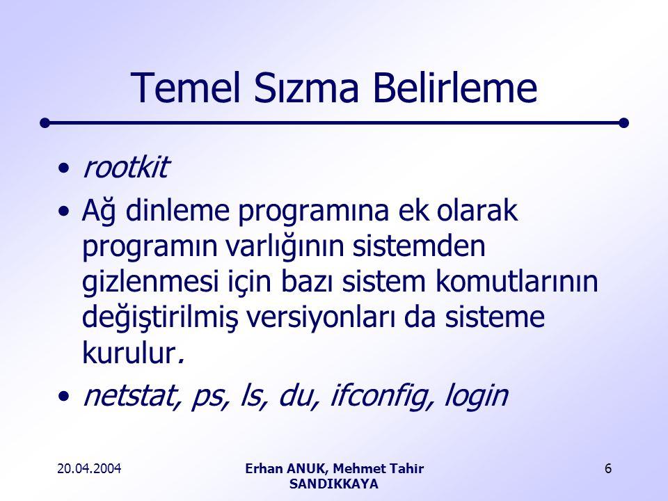 20.04.2004Erhan ANUK, Mehmet Tahir SANDIKKAYA 6 Temel Sızma Belirleme rootkit Ağ dinleme programına ek olarak programın varlığının sistemden gizlenmesi için bazı sistem komutlarının değiştirilmiş versiyonları da sisteme kurulur.