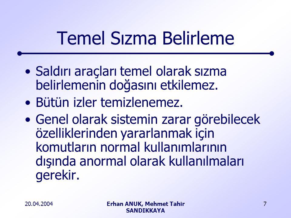 20.04.2004Erhan ANUK, Mehmet Tahir SANDIKKAYA 7 Temel Sızma Belirleme Saldırı araçları temel olarak sızma belirlemenin doğasını etkilemez.