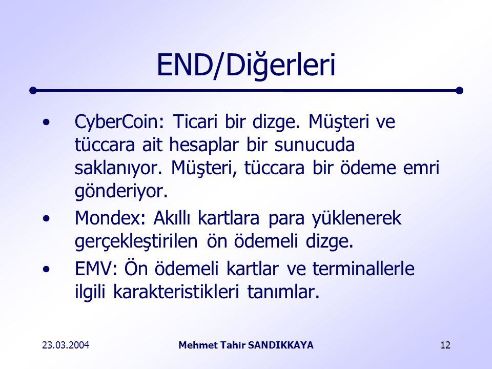 23.03.2004Mehmet Tahir SANDIKKAYA12 END/Diğerleri CyberCoin: Ticari bir dizge.