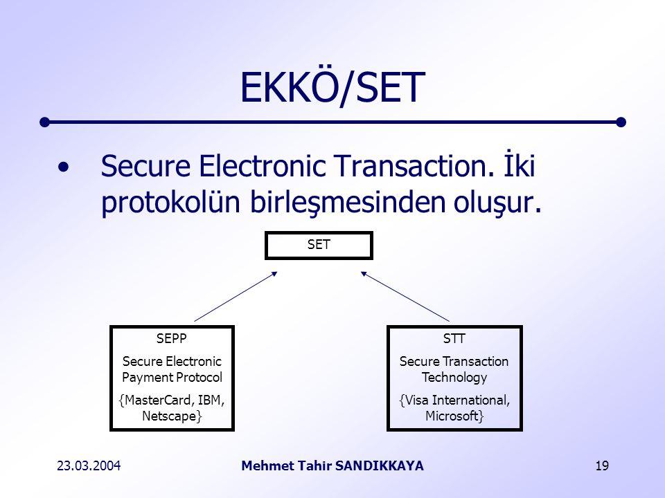 23.03.2004Mehmet Tahir SANDIKKAYA19 EKKÖ/SET Secure Electronic Transaction.