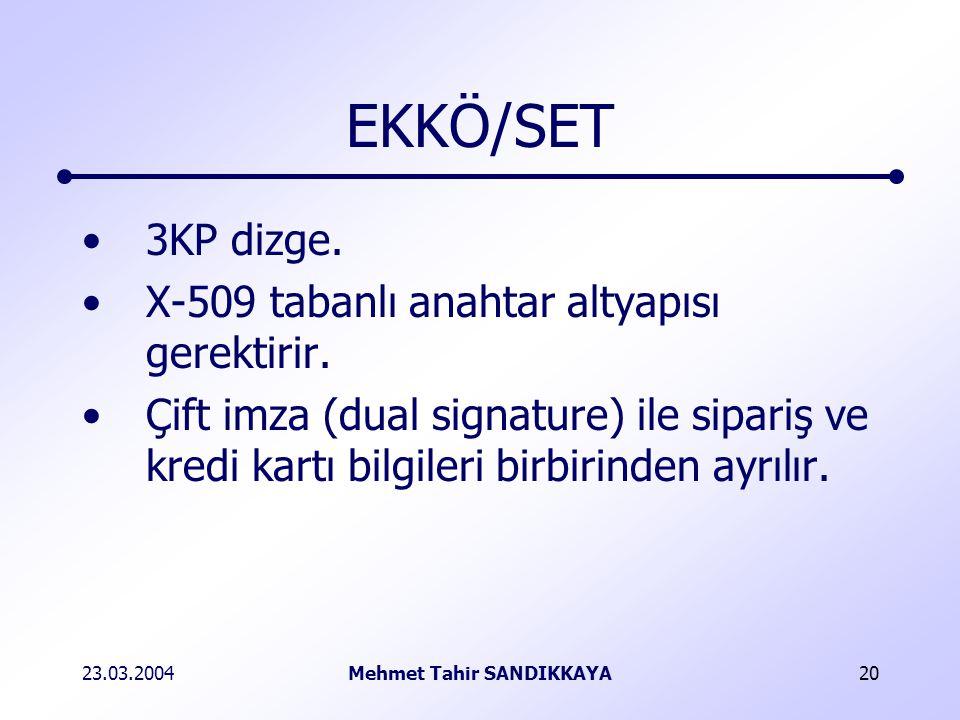 23.03.2004Mehmet Tahir SANDIKKAYA20 EKKÖ/SET 3KP dizge.