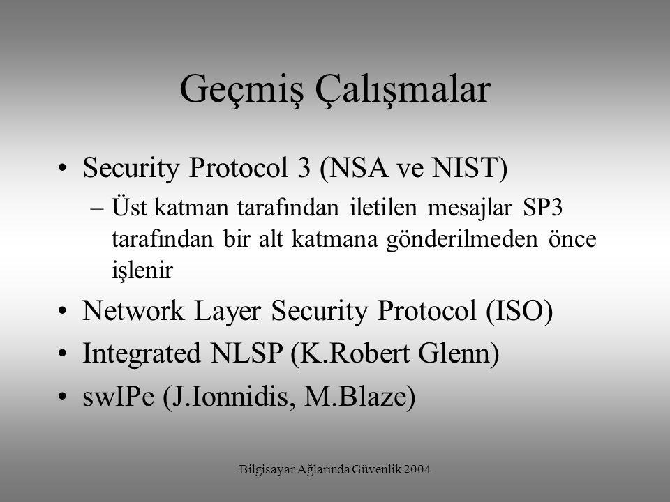 Bilgisayar Ağlarında Güvenlik 2004 Geçmiş Çalışmalar Security Protocol 3 (NSA ve NIST) –Üst katman tarafından iletilen mesajlar SP3 tarafından bir alt