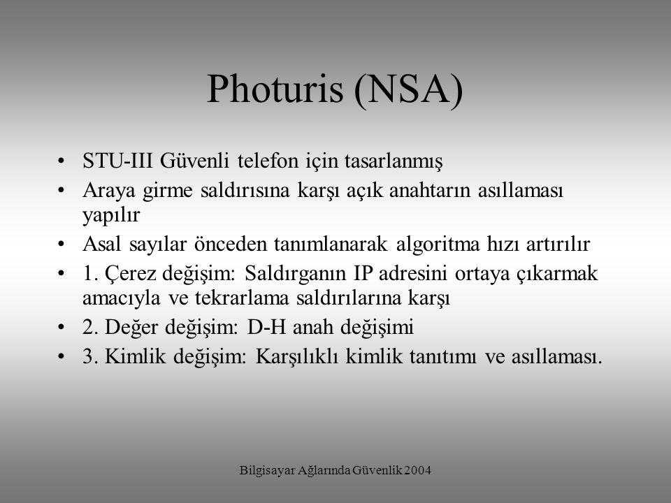 Bilgisayar Ağlarında Güvenlik 2004 Photuris (NSA) STU-III Güvenli telefon için tasarlanmış Araya girme saldırısına karşı açık anahtarın asıllaması yap