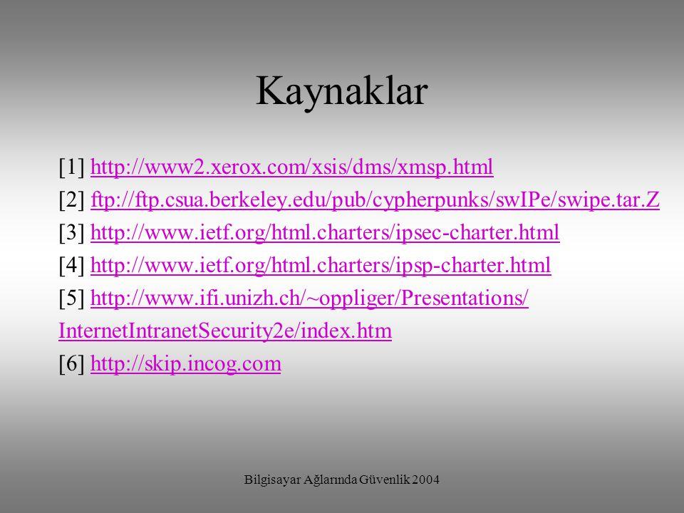 Bilgisayar Ağlarında Güvenlik 2004 Kaynaklar [1] http://www2.xerox.com/xsis/dms/xmsp.htmlhttp://www2.xerox.com/xsis/dms/xmsp.html [2] ftp://ftp.csua.b