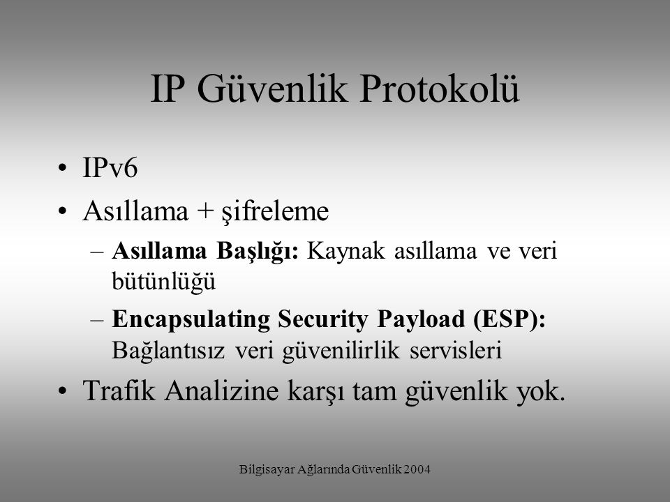 Bilgisayar Ağlarında Güvenlik 2004 IP Güvenlik Protokolü IPv6 Asıllama + şifreleme –Asıllama Başlığı: Kaynak asıllama ve veri bütünlüğü –Encapsulating