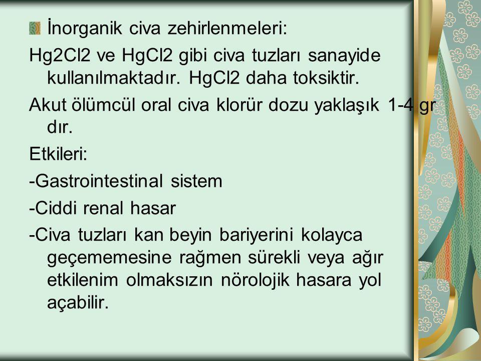İnorganik civa zehirlenmeleri: Hg2Cl2 ve HgCl2 gibi civa tuzları sanayide kullanılmaktadır. HgCl2 daha toksiktir. Akut ölümcül oral civa klorür dozu y