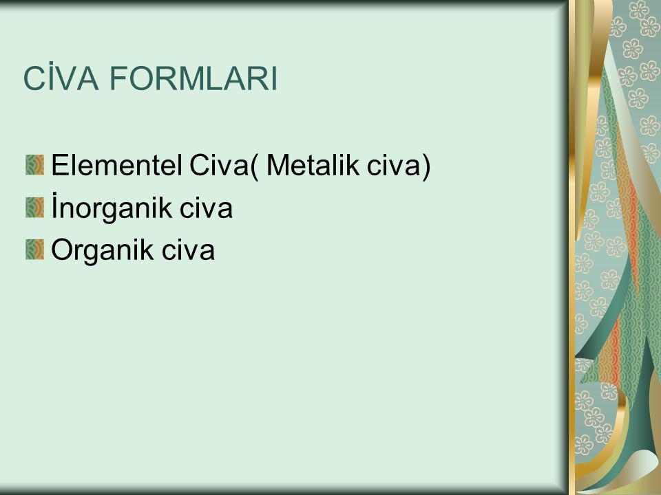Metalik Civa Elementel haldeki civadır Oda ısısında buharlaşır Özellikle termometrelerde kullanılır