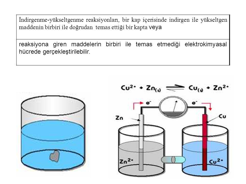İndirgenme-yükseltgenme reaksiyonları, bir kap içerisinde indirgen ile yükseltgen maddenin birbiri ile doğrudan temas ettiği bir kapta veya reaksiyona