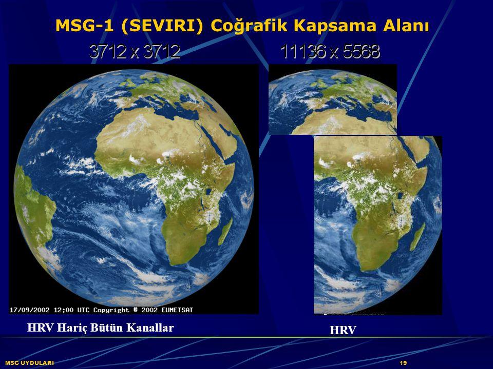 MSG-1 (SEVIRI) Coğrafik Kapsama Alanı MSG UYDULARI 19 HRV Hariç Bütün Kanallar HRV