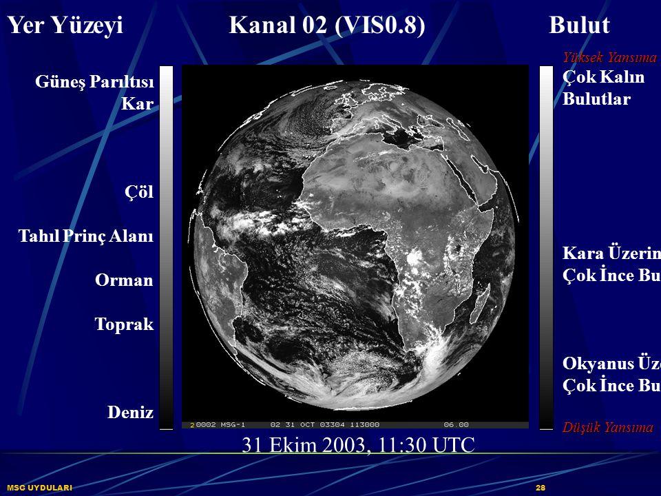 MSG UYDULARI28 Yer Yüzeyi Kanal 02 (VIS0.8) Bulut Güneş Parıltısı Kar Çöl Tahıl Prinç Alanı Orman Toprak Deniz 31 Ekim 2003, 11:30 UTC Yüksek Yansıma