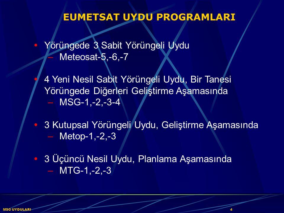  Yörüngede 3 Sabit Yörüngeli Uydu – Meteosat-5,-6,-7  4 Yeni Nesil Sabit Yörüngeli Uydu, Bir Tanesi Yörüngede Diğerleri Geliştirme Aşamasında – MSG-