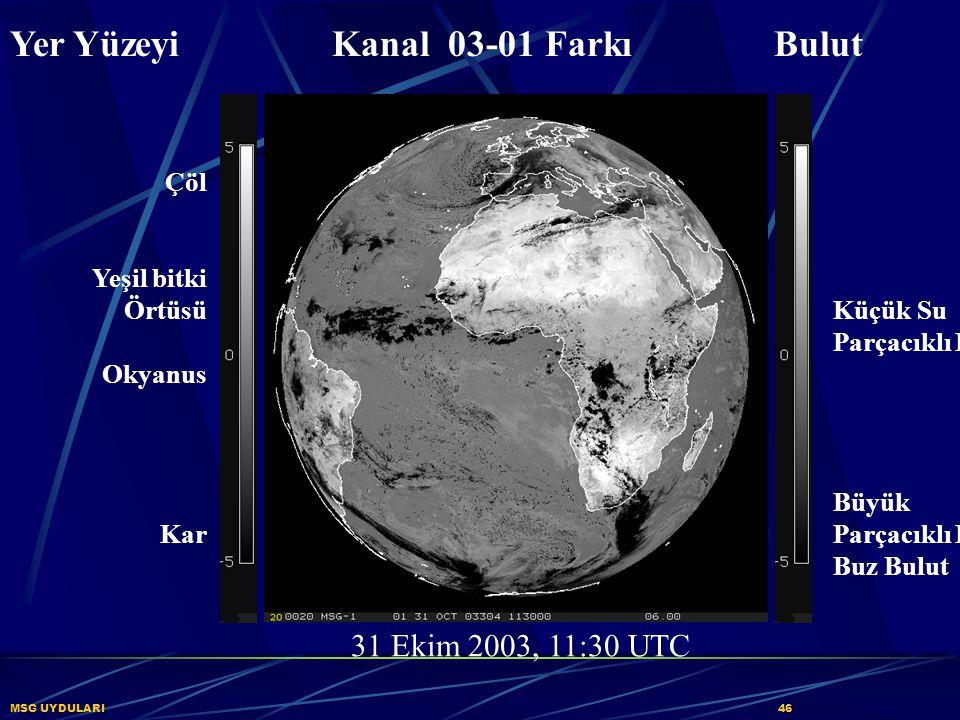 MSG UYDULARI46 Yer Yüzeyi Kanal 03-01 Farkı Bulut Çöl Yeşil bitki Örtüsü Okyanus Kar Küçük Su Parçacıklı Bulut Büyük Parçacıklı Kalın Buz Bulut 31 Eki