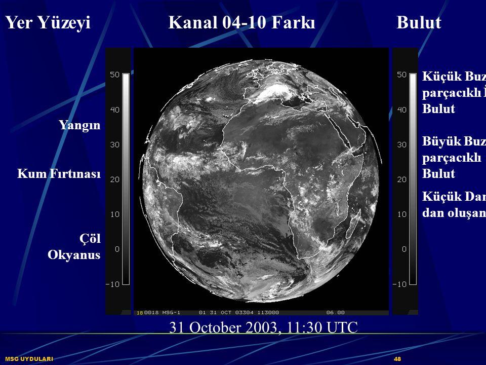 MSG UYDULARI48 Yer Yüzeyi Kanal 04-10 Farkı Bulut 31 October 2003, 11:30 UTC Küçük Buz parçacıklı İnce Bulut Büyük Buz parçacıklı Bulut Küçük Damlar-