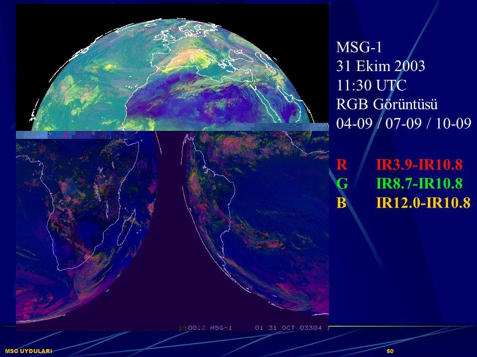 MSG UYDULARI50 MSG-1 31 Ekim 2003 11:30 UTC RGB Görüntüsü 04-09 / 07-09 / 10-09 RIR3.9-IR10.8 GIR8.7-IR10.8 BIR12.0-IR10.8