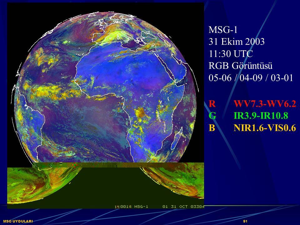 MSG UYDULARI51 MSG-1 31 Ekim 2003 11:30 UTC RGB Görüntüsü 05-06 / 04-09 / 03-01 RWV7.3-WV6.2 GIR3.9-IR10.8 BNIR1.6-VIS0.6