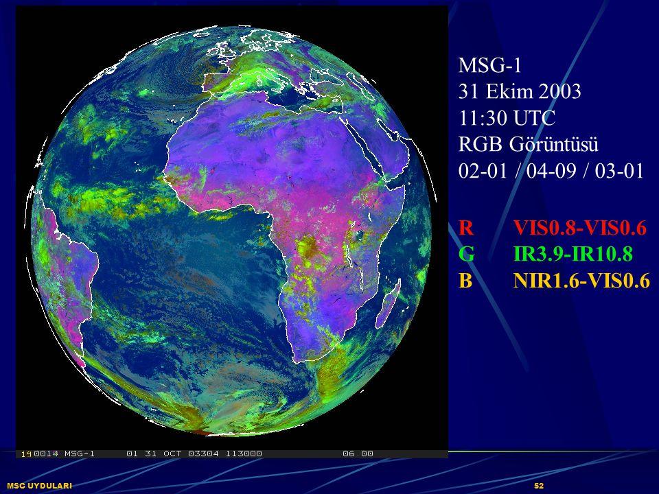 MSG UYDULARI52 MSG-1 31 Ekim 2003 11:30 UTC RGB Görüntüsü 02-01 / 04-09 / 03-01 RVIS0.8-VIS0.6 GIR3.9-IR10.8 BNIR1.6-VIS0.6
