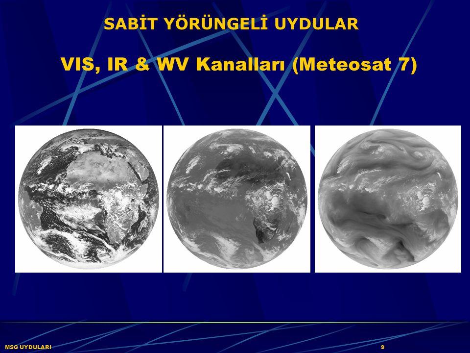 MSG UYDULARI30 Yer Yüzeyi Kanal 04 (IR3.9) Bulut Gündüz Yüksek Yansıma/Sıcak Kara üzerinde alçak bulut Deniz üzerinde alçak bulut Küçük parçacıklı soğuk buz bulutu Büyük parçacıklı soğuk buz bulutu Düşük Yansıma/Soğuk Güneş Parıltısı Yangın Sıcak Çöl Yüzeyi Sıcak Tropikal Alanlar Soğuk kara yüzeyi Deniz Soğuk Kar Örtüsü 31 Ekim 2003, 11:30 UTC