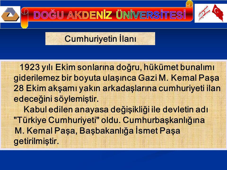 Cumhuriyetin İlanı 1923 yılı Ekim sonlarına doğru, hükümet bunalımı giderilemez bir boyuta ulaşınca Gazi M. Kemal Paşa 28 Ekim akşamı yakın arkadaşlar