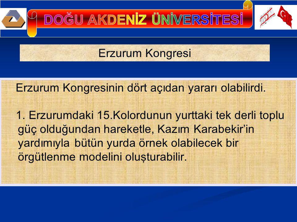 Erzurum Kongresinin dört açıdan yararı olabilirdi. 1. Erzurumdaki 15.Kolordunun yurttaki tek derli toplu güç olduğundan hareketle, Kazım Karabekir'in