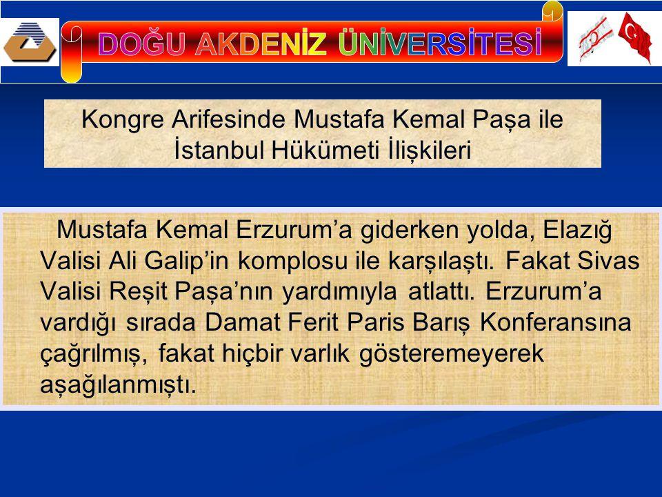 Mustafa Kemal Erzurum'a giderken yolda, Elazığ Valisi Ali Galip'in komplosu ile karşılaştı. Fakat Sivas Valisi Reşit Paşa'nın yardımıyla atlattı. Erzu