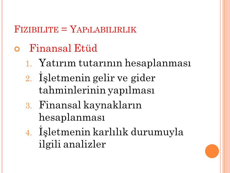 F IZIBILITE = Y APıLABILIRLIK Finansal Etüd 1. Yatırım tutarının hesaplanması 2. İşletmenin gelir ve gider tahminlerinin yapılması 3. Finansal kaynakl
