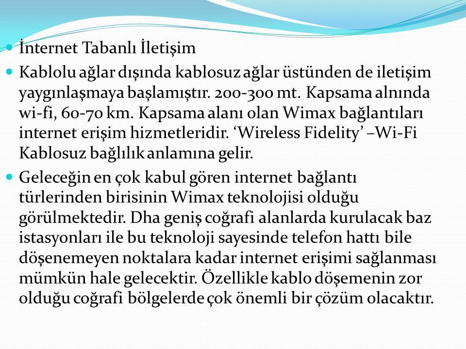 İnternet Tabanlı İletişim Kablolu ağlar dışında kablosuz ağlar üstünden de iletişim yaygınlaşmaya başlamıştır. 200-300 mt. Kapsama alnında wi-fi, 60-7