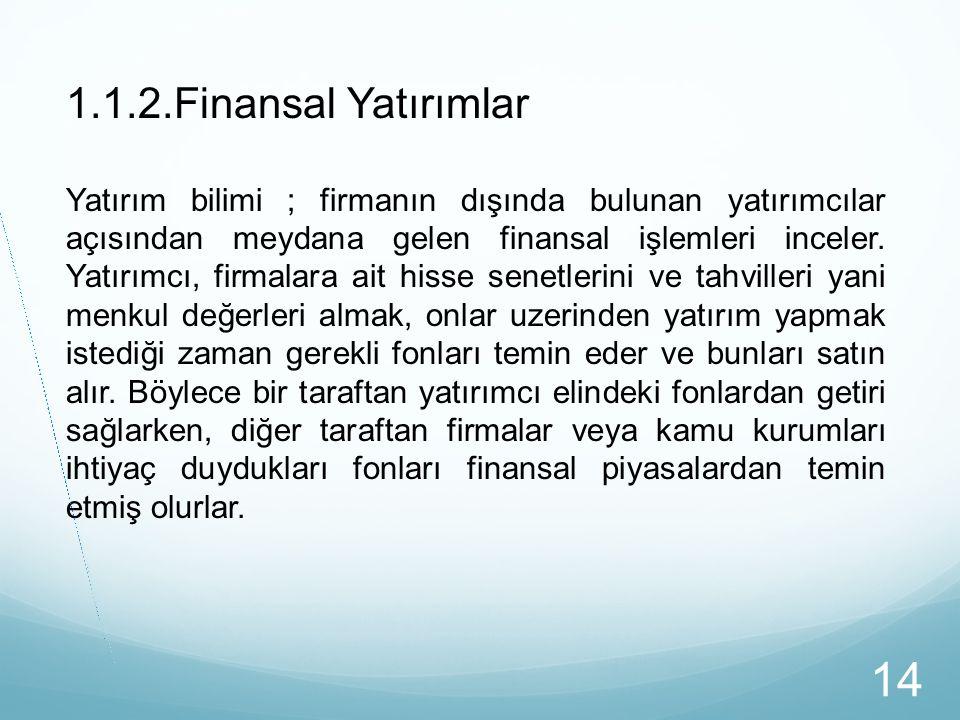 1.1.2.Finansal Yatırımlar Yatırım bilimi ; firmanın dışında bulunan yatırımcılar açısından meydana gelen finansal işlemleri inceler. Yatırımcı, firmal